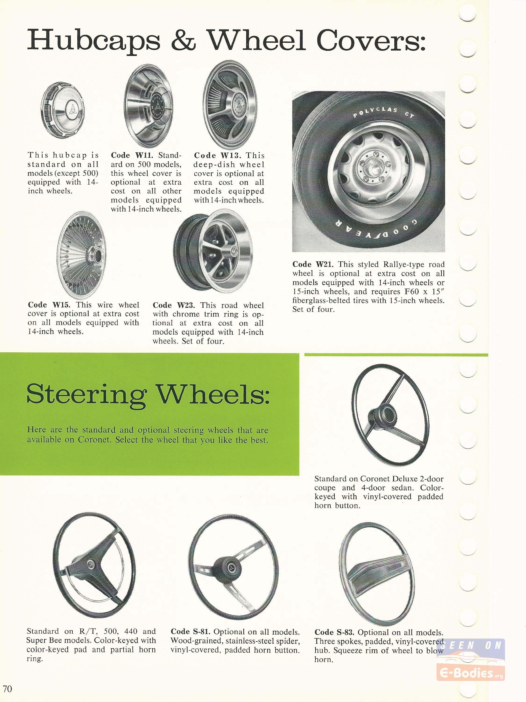 1970 Dodge Data Book Coronet – E-Bodies