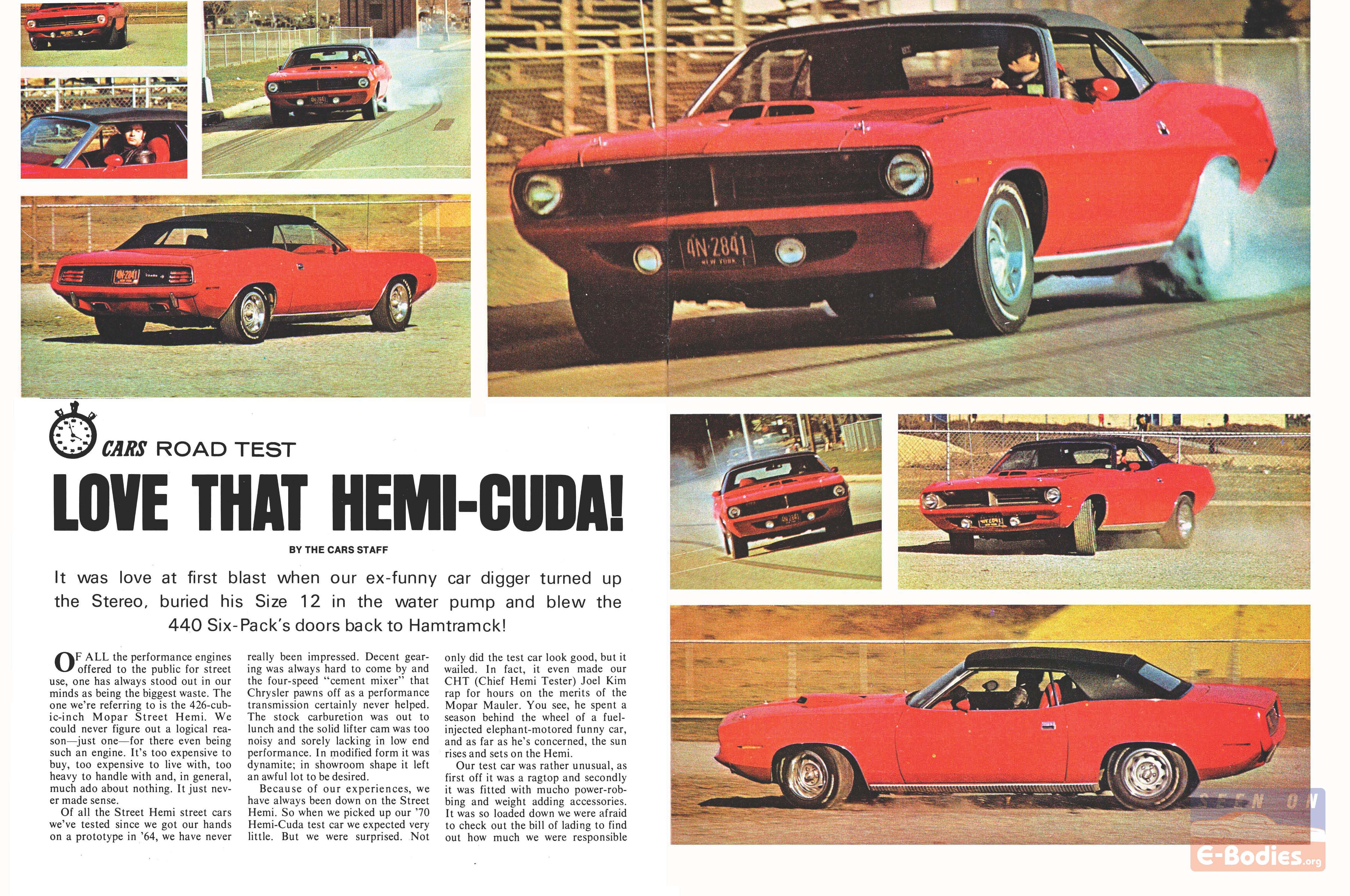 1970 Plymouth 426 Hemi Cuda Review / Road Test Article – E