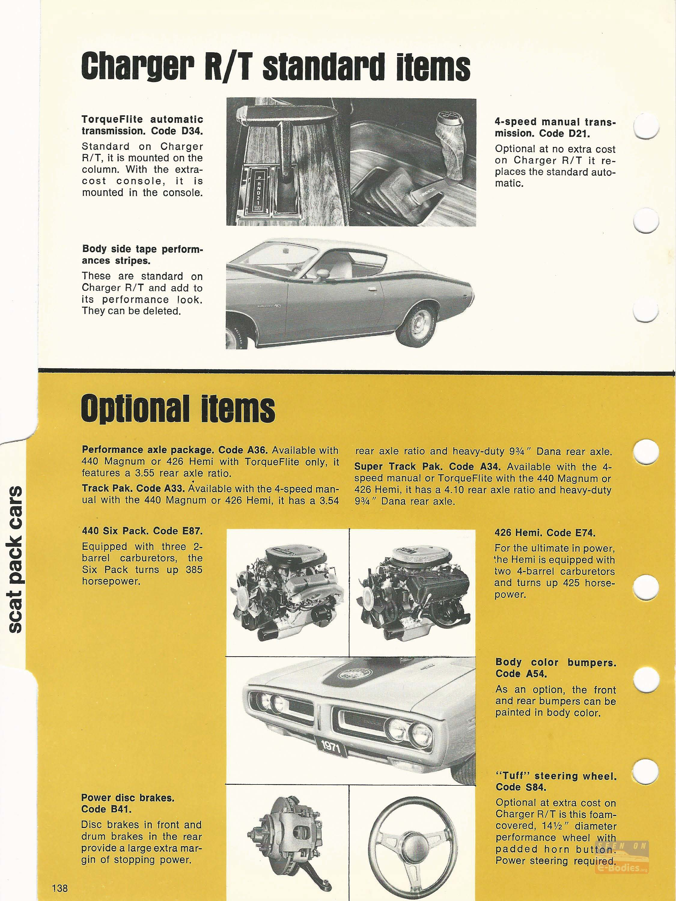 1971 Dodge Car Truck Data Book Scat Pack Cars E Bodies