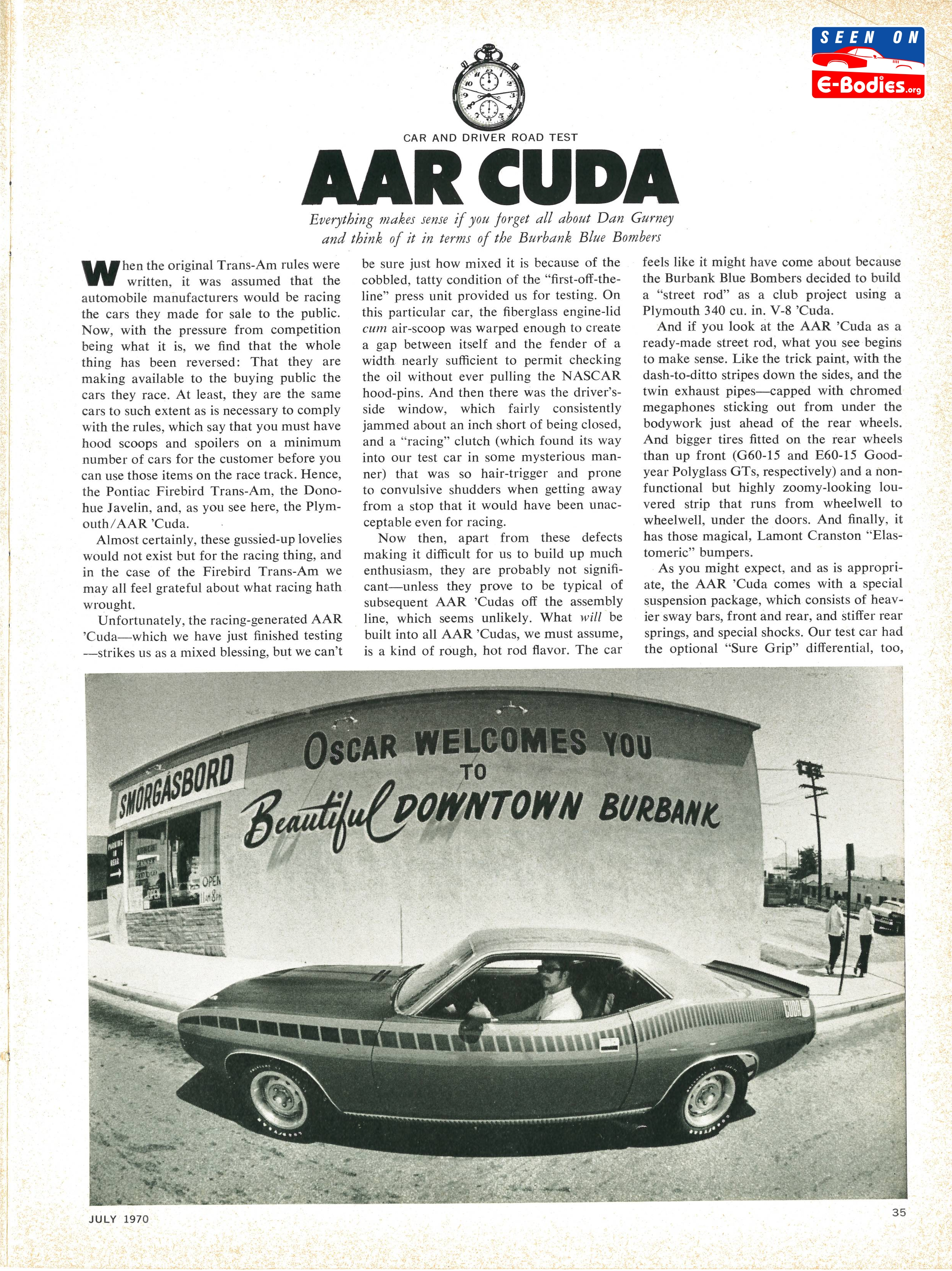 1970 Plymouth AAR Cuda Review Car & Driver July 70 – E-Bodies