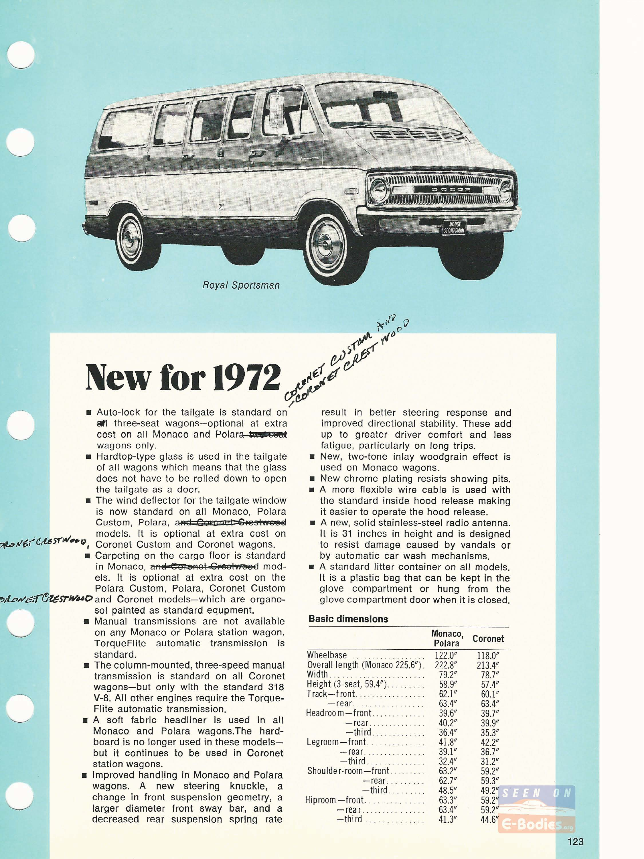 1972 Dodge Data Book Station Wagons – E-Bodies