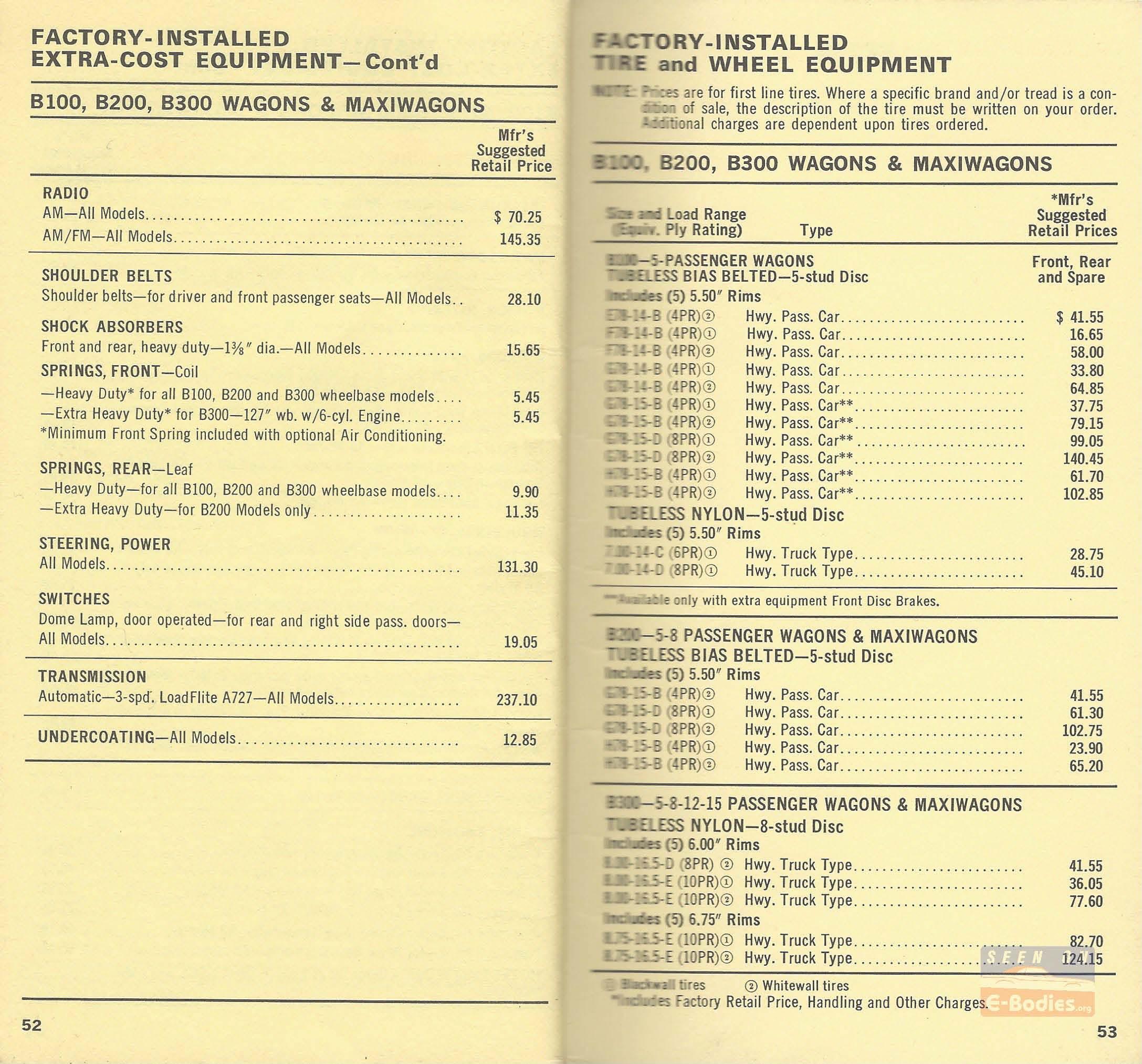 1972 Dodge Salesman Models & Equipment Prices Sportsman – E-Bodies