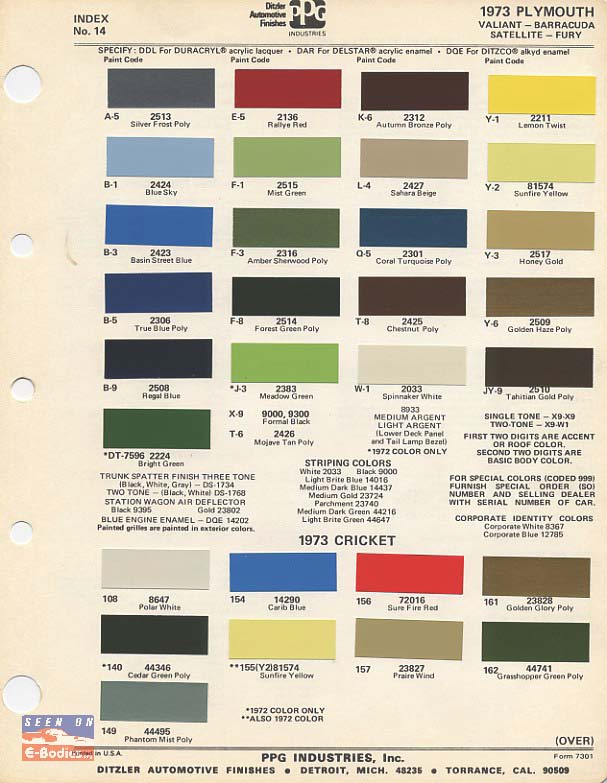 70 74 Plymouth Paint Color Chip Charts Cuda E Bodies