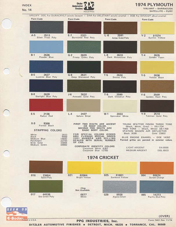 70-74 Plymouth Paint Color Chip Charts Cuda – E-Bodies